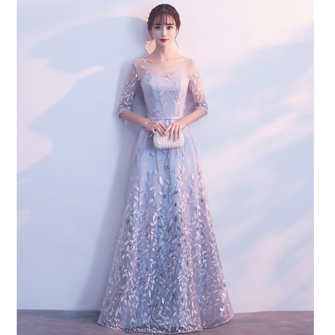 Gown Collection Simple Mid Length Transparent Sleeves Design Leafs