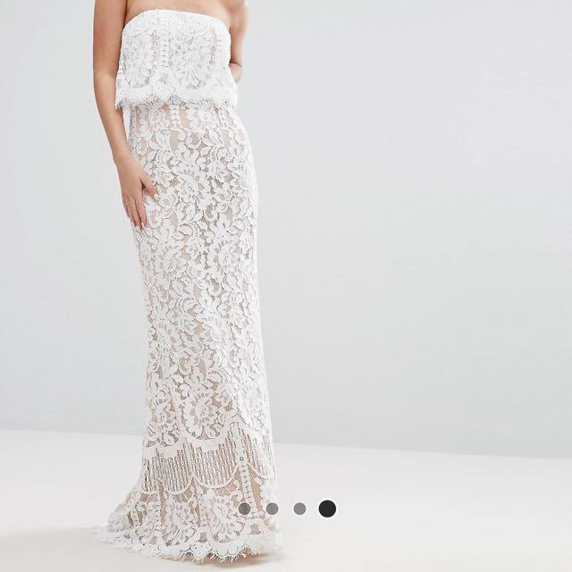 359602afa21f Jarlo Petite All Over Lace Bandeau Maxi Dress, Women's Fashion, Clothes,  Dresses & Skirts on Carousell