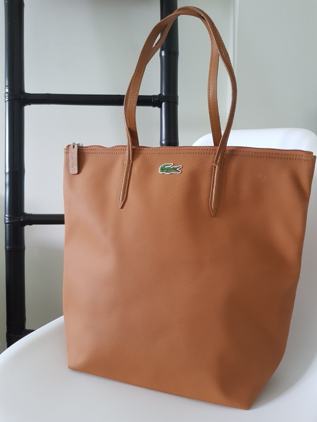 a897b5b8163 SOLD] Lacoste Vertical Tote Bag, camel brown, Women's Fashion, Bags ...