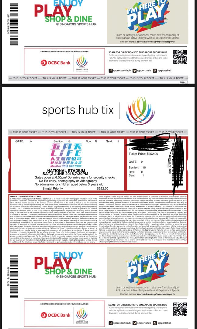 Mayday National Stadium Concert 2 tickets combo