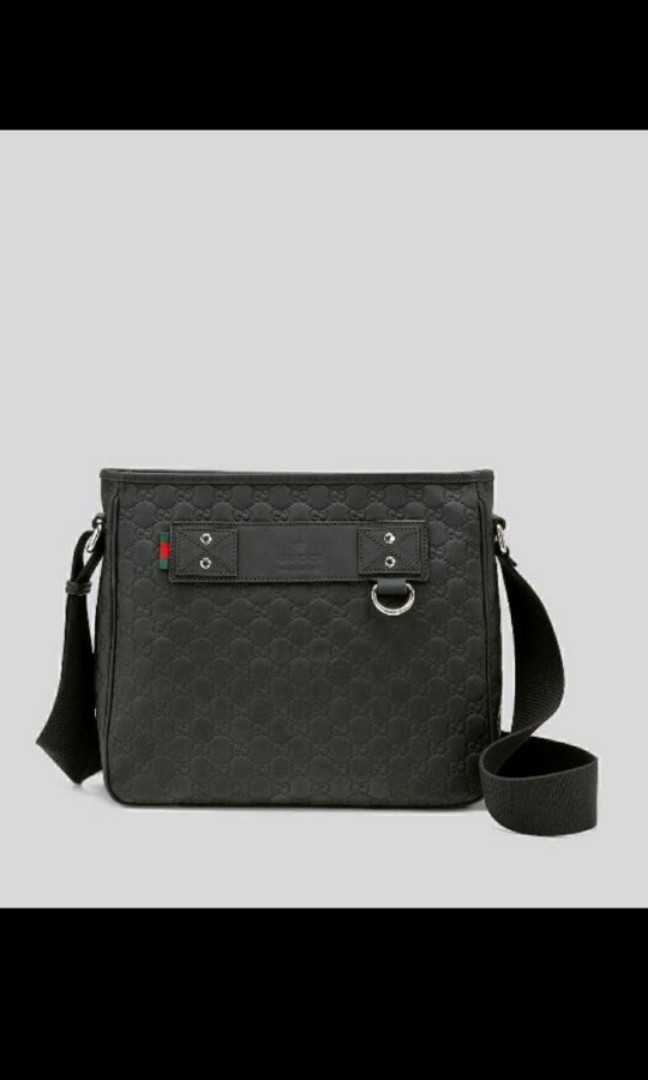 daa31f12021c Authentic>>Gucci Black Guccissima Leather Messenger Bag, Luxury ...