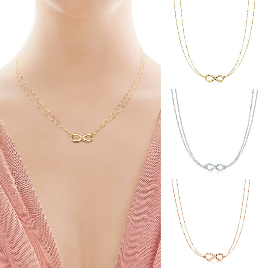 cdcb589b4 Tiffany Inspired Infinity Necklace in Gold, Silver and Rose Gold ...