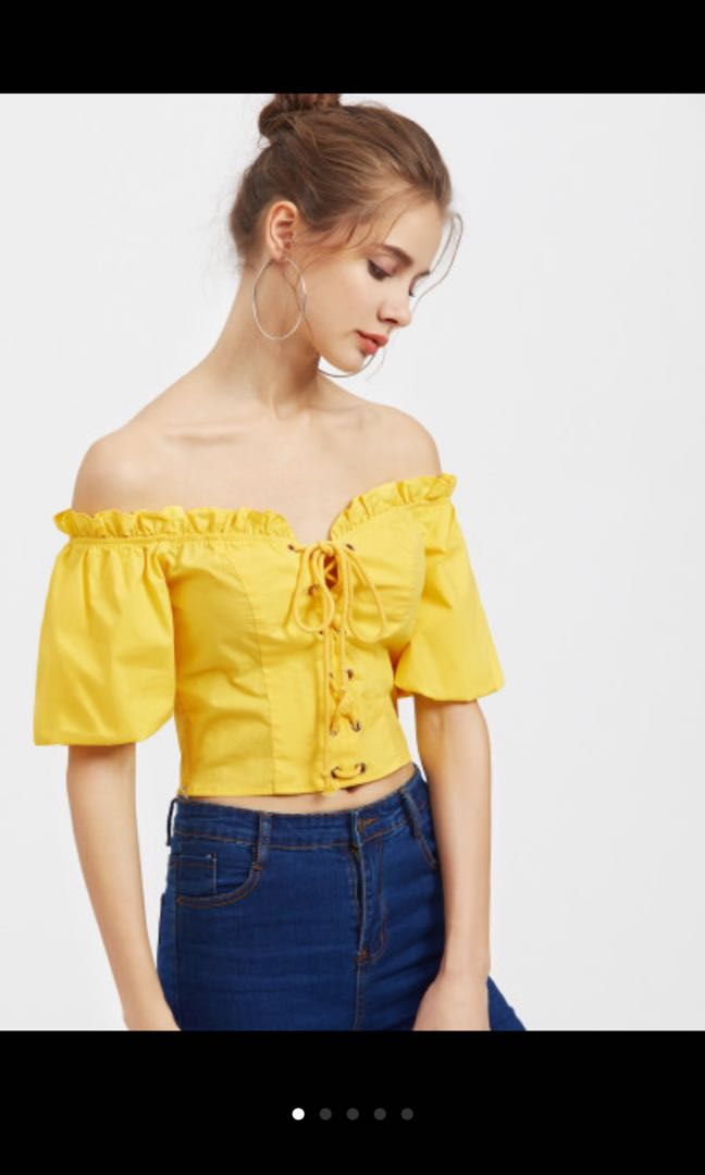 39120cc1b76e Yellow Off Shoulder Top Lace Up