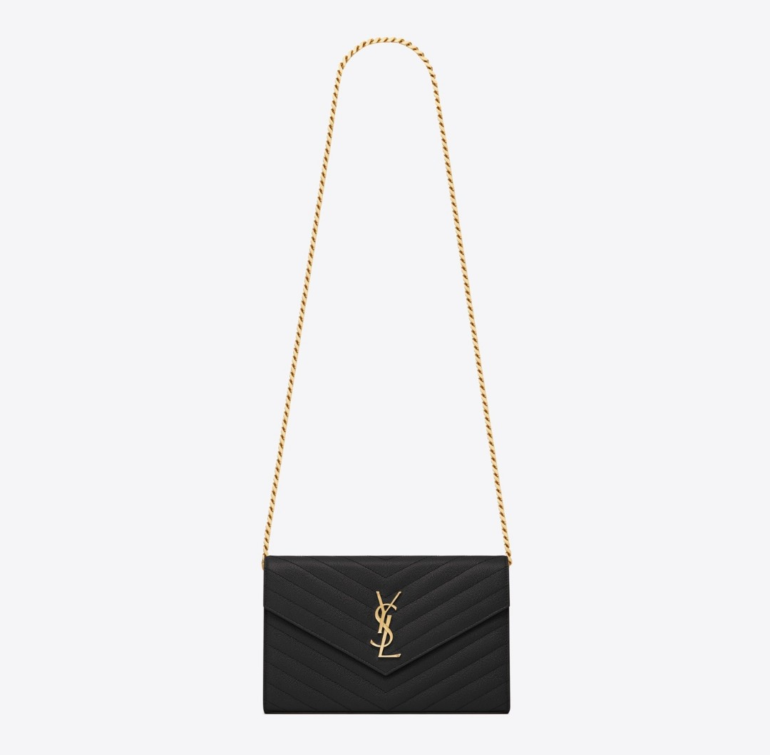 AUTHENTIC NEW YSL CHAIN WALLET IN TEXTURED MATELASSÉ LEATHER