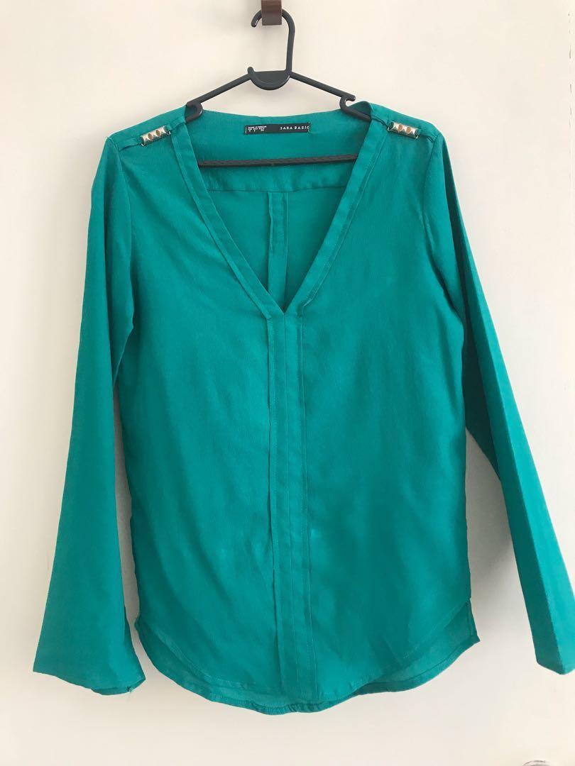 978df4a3405b Zara Basic Inspired Emerald Green Blouse Top Shirt Size US S / EUR S ...