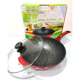 Wajan Wok Marble 30cm + Tutup Kaca Home Line