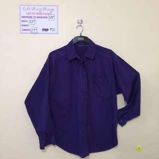 Plus Size Deep Purple Long Sleeved Top