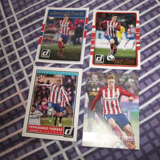 Fernando Torres Topps/Panini Atletico Madrid trading cards for sale/trade (Lot of 4 cards)