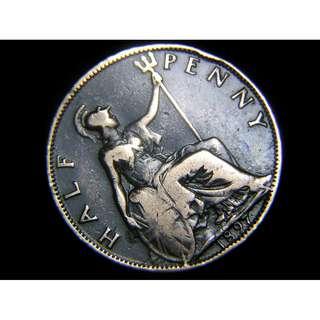 1897年大英帝國不列顛尼亞女神坐像1便士銅幣(英女皇維多利亞老年像)