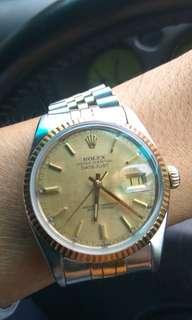 Rolex 16013 Half Gold Datejust Cartier Vintage 6694 Daytona Seamaster Reverso LV Dior Hermes JLC