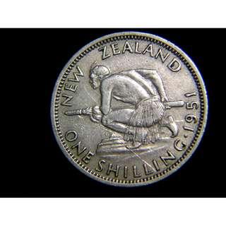1951年英屬紐西蘭毛里族戰士1先令鎳幣(英皇佐治六世像)