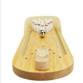 *FREE DELIVERY to WM only / Ready stock* Kids toy wooden mini bowling set each as shown in design/color. Free delivery is applied for this item.