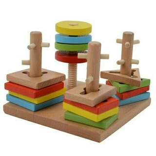 *FREE DELIVERY to WM only / Ready stock* Kids wooden toy 4 pillars set each as shown in design/color. Free delivery is applied for this item.