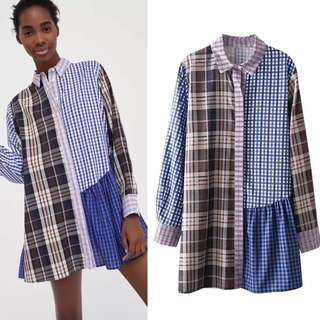 Loose fitting European station plaid patch gown women's plaid shirt