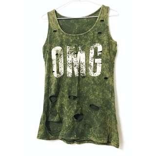 🚚 帥氣隨性 軍綠色抓破感設計背心