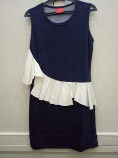Denim dress with white ruffles