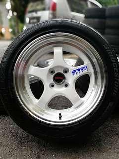 Work miestar s1 15 inch sports rim myvi tyre 70%