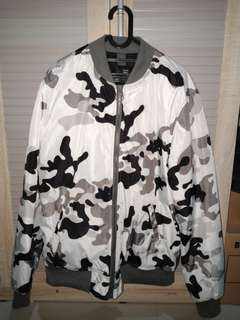 Bershka White Camo Men Bomber Jacket