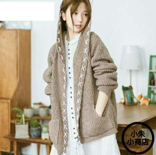 [PO] Autumn New Women Cardigan Mori Girl Long Sleeve Loose Hooded Lovely Knitted Sweater Open Stitch Casual Coats