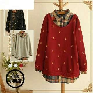[PO] Autumn Fake Two Pullovers Women Blouse Long Sleeve Pineapple Printed Blouse Japanese Style Mori Girl Shirt Plus Size Tops