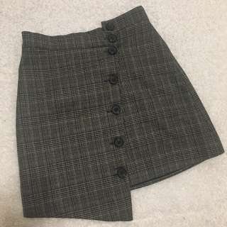 🚚 歐美 不規則排扣格紋A字裙短裙