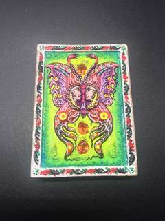 Kruba Krissana Block A  Butterfly amulet back with real gems and yant by Kruba Krissana