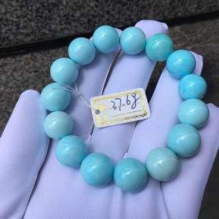 🌷🌷🌷原礦綠松石圓珠手串!高瓷天空藍微鐵線!上手盤玩效果更漂亮!尺寸:13mm😋!特價:¥8800🉐️