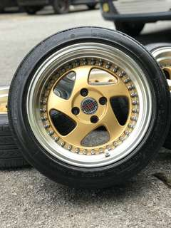 Rotiform 15 inch sports rim saga flx tyre 70%. * joal mora mora offer untuk you!! *