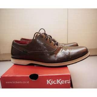 Kickers Original Oxford Dark Brown Sepatu Kulit