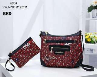 Carlo Rino Sling Bag 2 in 1 Red Color