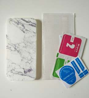 Iphone 5/5s soft marble case + tempered glass
