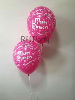 (2/6) Include helium Assorted Happy birthday printed all over latex balloons
