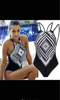 Black and White Monokini One Piece Swimsuit