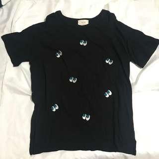 原宿泡泡先生眼睛圖案休閒穿著短袖t恤