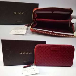 Zip wallet micro guccisimma red 12 slots for cards