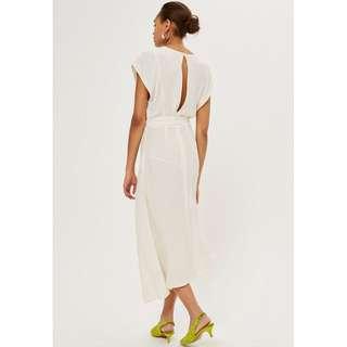 🚚 TOPSHOP 全新 白色 仿絲 綁帶 蝴蝶結 不對稱 裙擺 短袖 長洋裝
