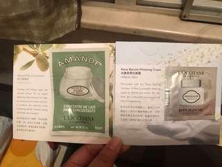 Loccitane Almond Milk Concentrate, Reine Blanche Whitening Cream