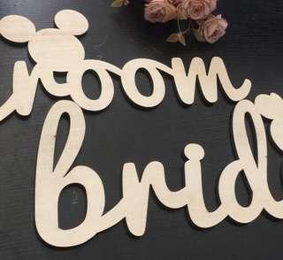 Bride & Groom Signage - Disney theme