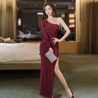 PREORDER(!) South Korean Ladies' Fashion~ Toga Long-Sleeve Maxi Bodycon Dress with Slit