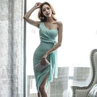 PREORDER(!) South Korean Ladies' Fashion~ Toga Midi Bodycon Dress with Slit