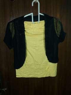 Kemben Kuning with Black Rose Bolero
