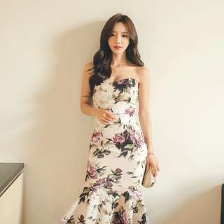 PREORDER(!) South Korean Ladies' Fashion~ Off-Shoulder Sleeveless Bustier Floral Print Midi Bodycon Dress with Mermaid Tail