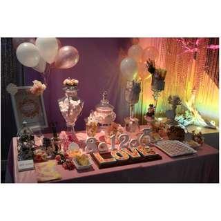 粉紅系列婚宴糖果吧佈置Dirty Pink Color Wedding Candy Corner Decoration