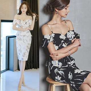 PREORDER(!) South Korean Ladies' Fashion~ Off-Shoulder Floral Print Midi Bodycon Dress with Back Slit