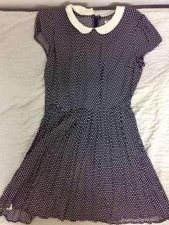 F21 Polka Dots Dress (Navy Blue & Cream White)