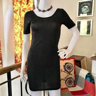 Black Scoop Back Bodycon Dress