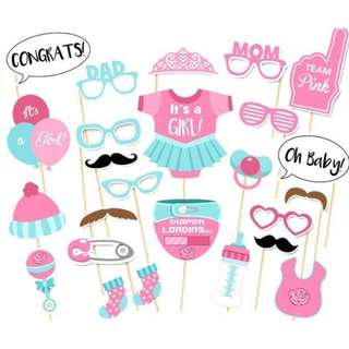 Photo Booth Props - 25 PCS Baby Girl Shower Photobooth Props