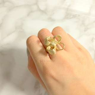MADE IN KOREA Cute Gold Flower Clover Ribbon Bow Ring