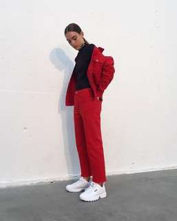 Oversized Jacket Jeans Red