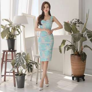 PREORDER(!) South Korean Ladies' Fashion~ Strap Sweetheart-Neckline Watercolour Print Midi Bodycon Dress